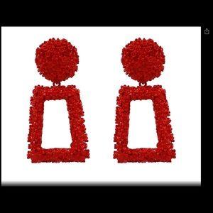 Jewelry - Red Geometric Metal  Dangle Earrings